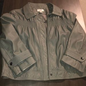 LOFT Grey Leather Jacket Sz 10